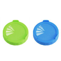 2Pcs Plastic Sprouting Strainer Lids Covers Cap for Wide Mouth Mason Jars New