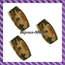 4 Perle rettangolo Cocco torchon 35mm nero