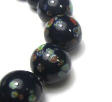 """7"""" STRAND OF 20 GORGEOUS OLD GRADUATED JAPANESE MILLEFIORI VINTAGE GLASS BEADS"""