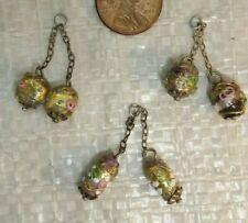 3  Vintage Czech   DECO   ART Glass  Dangling  PENDANT  Jewelry pieces