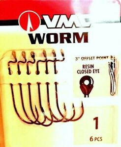 VMC Offset Point Resin Closed Eye Worm Fishing Hooks (Package of 6 Hooks)