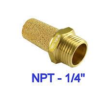 "Brass Silencer Connector 1/4"" NPT Noise Reduce Air Valve Muffler Fitting 5 Piece"