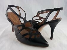 Elie Tahari Black Leather Strappy Heel size 39 | 9 Ankle Strap Pump High Pointed