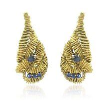 Vintage Ilias Lalaounis 18k Gold Sapphire Earrings