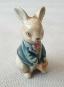 Vintage Peter Rabbit Style Figurine of a Bunny in Blue Jacket with Pink Bow Tie