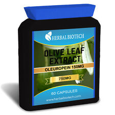 Herbalbiotech Extracto de hoja de olivo máxima fuerza 750mg oleuropeína Muy Potente