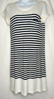JOIE Size XS T Shirt Dress Black & White Striped Soft Cotton Short Sleeve Pocket
