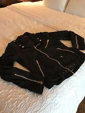 Tripp NYC Men's Black Cotton Biker Jacket Zipper Moto Motorcycle Punk Goth Sz S
