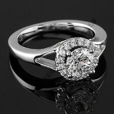 14k White Gold Over Round Cut Diamonds Engagement Wedding Ring All Size
