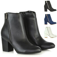 Womens Block Mid Heel Ankle Boots Ladies Zip Casual Smart Party Booties Shoes
