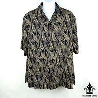 AXIST Men's Black & Gold Floral Button Up Short Sleeve Shirt - Mens XL