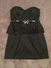 RIVER ISLAND size 14 Ladies BLACK SATIN MINI DRESS Women's