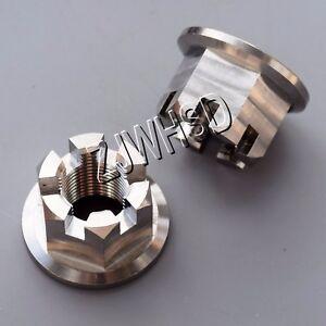 2pcs M12 x 1.25 Titanium Ti Hex Flange Slot Castle Crown Nut for Wheel Axle Hub