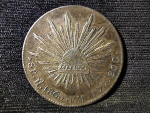 Mexico, Silver (.903), 8 Reales 1865 Ho-FM (Hermosillo Mint), EF (Rare), AG217