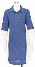 Tahari ASL Blue Shirt Dress Size 14 Denim Tunic Roll-tab Women's New*