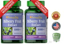 Puritan's Pride Bilberry Fruit Extract 1000mg 180 Softgel Improves Vision 2 PACK
