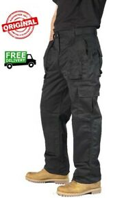 NEW Mens Combat Work Trousers Size 30 to 42 CARGO & KNEE PAD POCKETS Elasticated