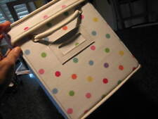 POTTERY BARN TEEN White Polka Dot DOTTIE Canvas Storage Bin Box with Lid