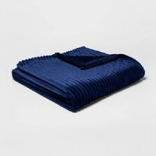 Blue Ribbed Plush Bed Blanket Room Essentials Twin / Xl Twin