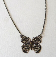 LOVELY LARGE ART NOUVEAU STYLE DARK GOLD PLATED FILIGREE BUTTERFLY PENDANT CHAIN