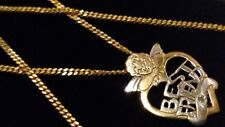 "9ct Gold DIA Cherub & Heart 'BEST FRIEND' Pendant, 20"" Flat Link Chain/Necklace"
