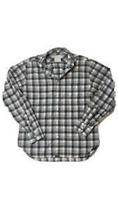 BILLY REID Blue Gray And White Plaid Oxford button Down shirt Small