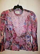 Women's Nah Nah jacket blouse top mauve/rose floral lace trim pearl buttons 9/10