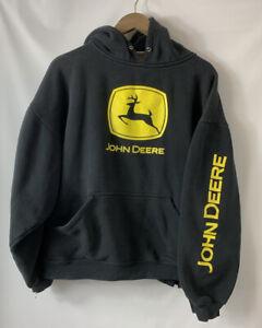 Men's John Deere Tractor Black Hoodie Pullover Size Medium Sweatshirt