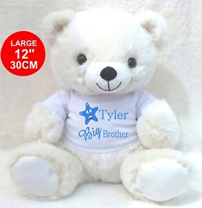PERSONALISED CREAM TEDDY BEAR  BIG/LITTLE BROTHER BIRTHDAY ANY OCCASION GIFTS