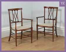 Antique Pair Two Edwardian Neoclassical Inlaid Mahogany Salon Chairs Armchairs