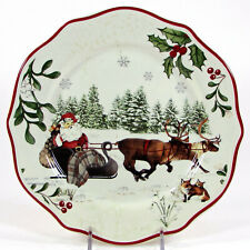 "Better Homes & Gardens WINTER FOREST - SLEIGH 8.75"" Salad Plate Heritage Santa"