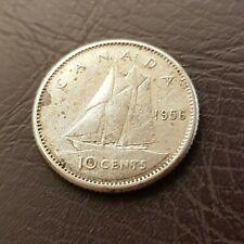 1956 Canada Silver 10 Cents Dime Elizabeth II Coin Ten Cent