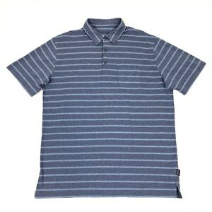 Patagonia Men's Blue Striped 100% Organic Cotton Pocket Polo Shirt Size L Soft!
