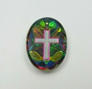 Cross Cabochons German Glass Carved Intaglio Back 25X18mm White on Iridis - 1 pc