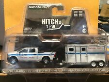 1/64 GREENLIGHT HITCH & TOW CHICAGO POLICE 2017 DODGE RAM & HORSE TRAILER