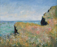 Claude Monet Edge Of The Cliff Pourville Fine Art Print on Canvas HQ Giclee 8x10