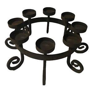 Gothic Black Iron Medieval Candelabra Candle Holder 8 Votives Circular Spiral