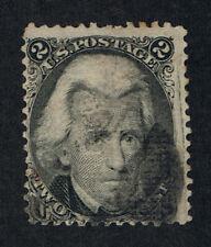 GENUINE SCOTT #87 F-VF USED 1867 BLACK 2¢ NBNC CLEAR & WELL DEFINED E-GRILL