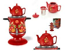 Modern Russian Samovar Art Design ~FLOWERS~ Red Electric Samovar Kettle Set of 2