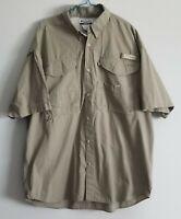 Men's Columbia PFG Large Vented Mesh Fishing Short Sleeve Button Down Shirt Tan