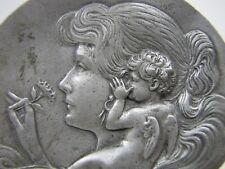 Vtg Art Nouveau Lovely Maiden Holding Flower Cherub Whispering in Ear Tray Pin