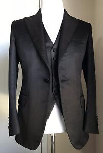 New $6750 Brioni Classic Suit 3 Piece Continenta DK Brown/Black 38R US/48 Eu