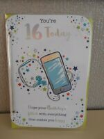 You're 16 today Male Mobile Phone stars glittery Happy Birthday Card sixteen
