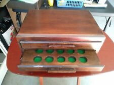 Wood Coin Display Box Chest Holds 30 Coins 2 Drawer
