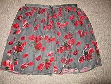 BNWT River Island Skirt UK 12 Black Red Velvet Floral Rose Pattern Dress Up Mesh