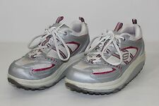 Skechers Shape Ups Womens 8 White Gray Pink Leather Athletic Sneakers Walk Shoes