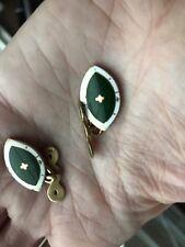 Antique Art Deco Guilloche Enamel Enameled Green Cufflinks Cuff Links 18k Gold