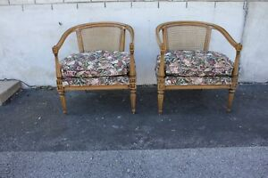 Pair of Vintage French Provincial Fruitwood Club Fireside Chairs