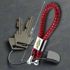 Red For Chevy Chevrolet Emblem Key Chain Ring BV Style Leather Gift Decoration