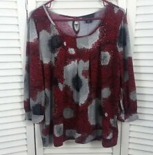 Women's Apostrophe Top Size XL Red Black Gray Pleated 3/4 Sleeve Keyhole Stretch